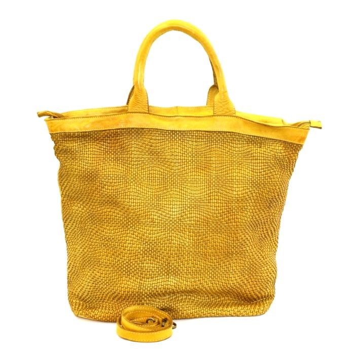 CHIARA Wave Weave Tote Bag Mustard