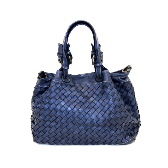 LUCIA Small Tote Bag Large Weave Navy