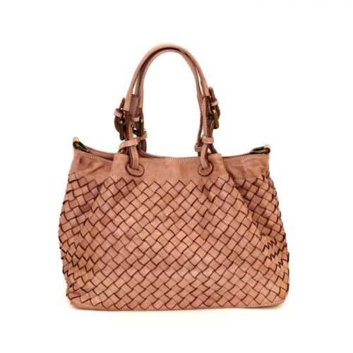 LUCIA Small Tote Bag Large Weave Blush