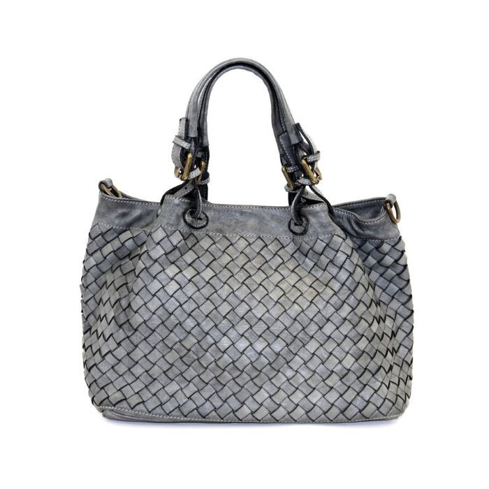 LUCIA Small Tote Bag Large Weave Light Grey