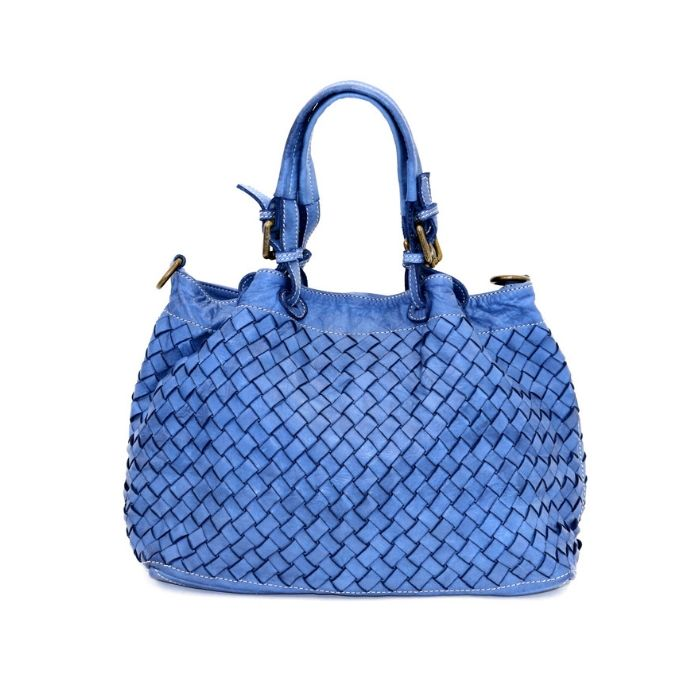 LUCIA Small Tote Bag Large Weave Denim