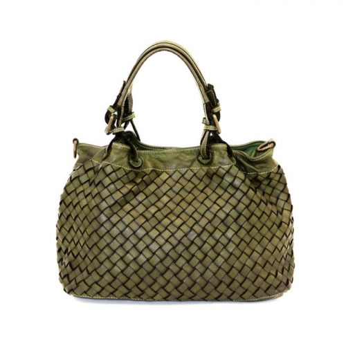 LUCIA Small Tote Bag Large Weave Army Green