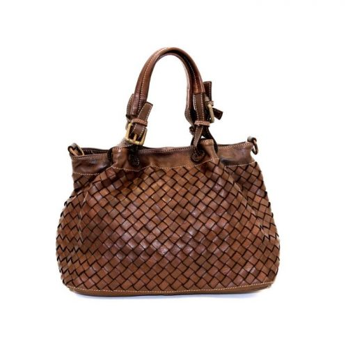 LUCIA Small Tote Bag Large Weave Dark Brown