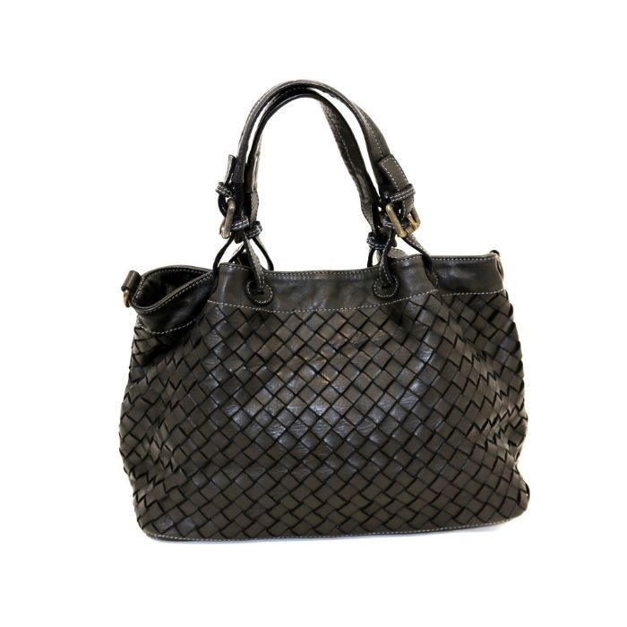 LUCIA Small Tote Bag Large Weave Black