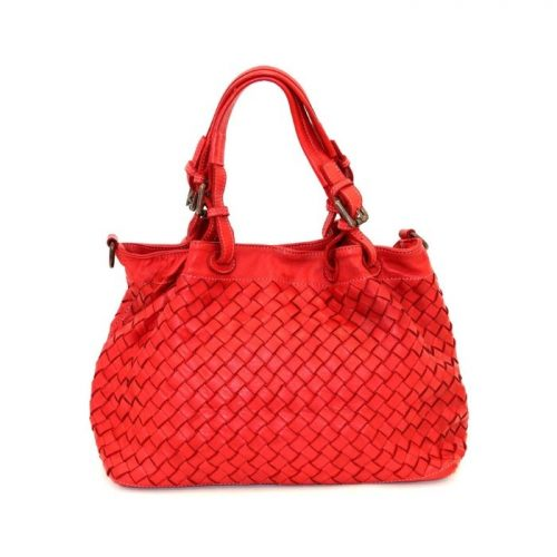 LUCIA Small Tote Bag Large Weave Bright Red