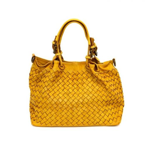 LUCIA Small Tote Bag Large Weave Mustard