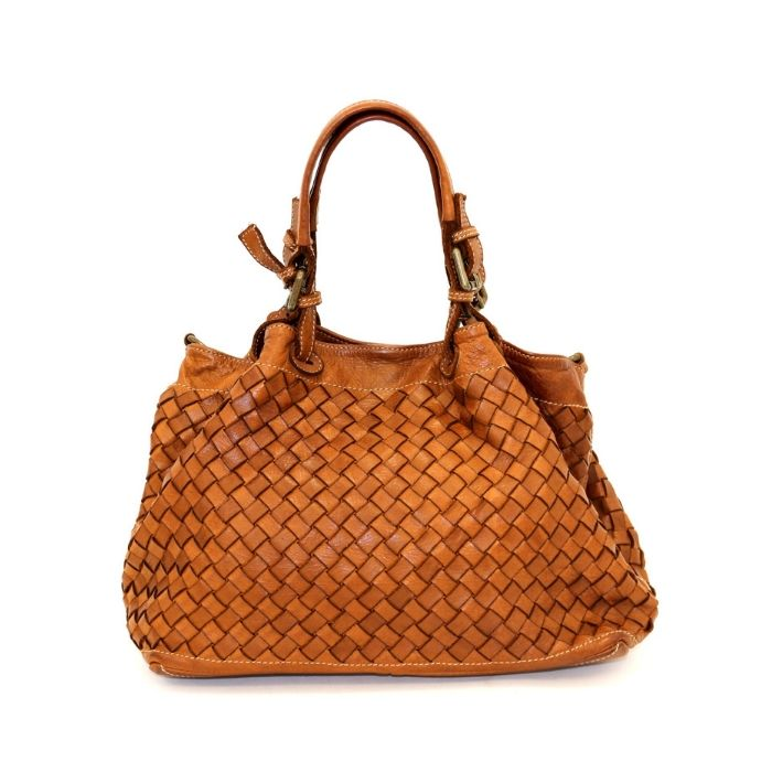 LUCIA Small Tote Bag Large Weave Tan