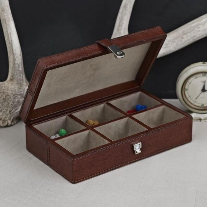 leather cufflink box six sections