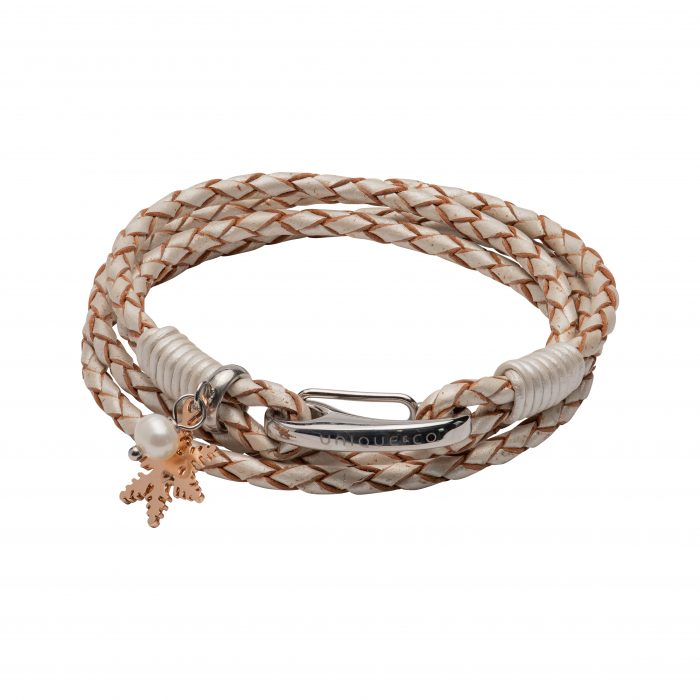 Unique & Co Women's Leather Bracelet With Snowflake Charm & Pearl White