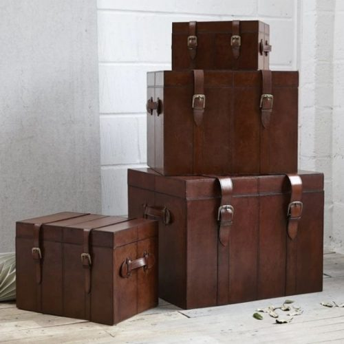 Leather Storage Trunk (4 Sizes Available)