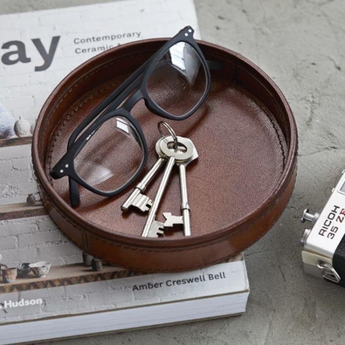 Leather Round Key Tray