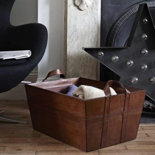Leather Blanket Basket