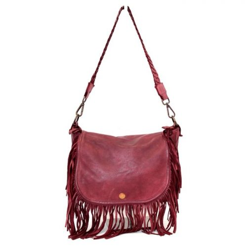 CAMILLA Shoulder Bag With Fringes Burgundy