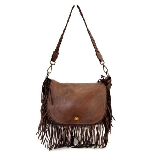 CAMILLA Shoulder Bag With Fringes Dark Brown