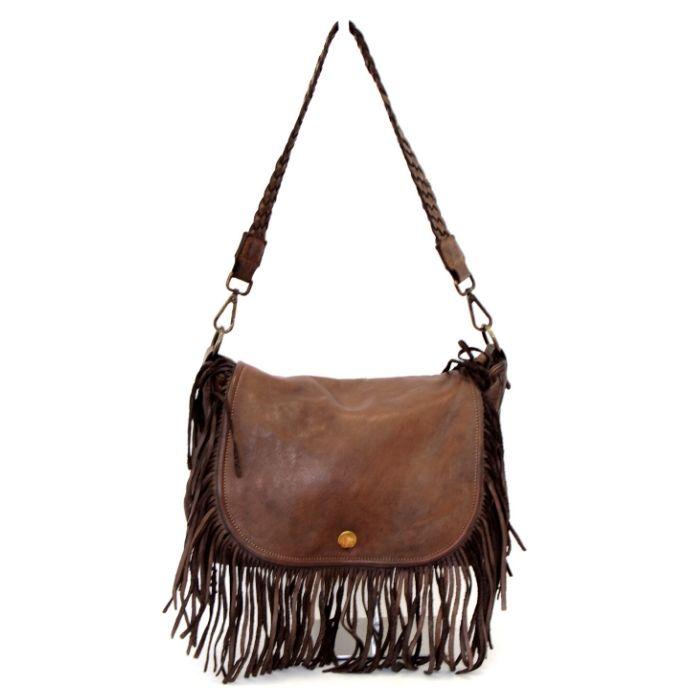 CAMILLA Shoulder Bag With Fringes Dark Brown