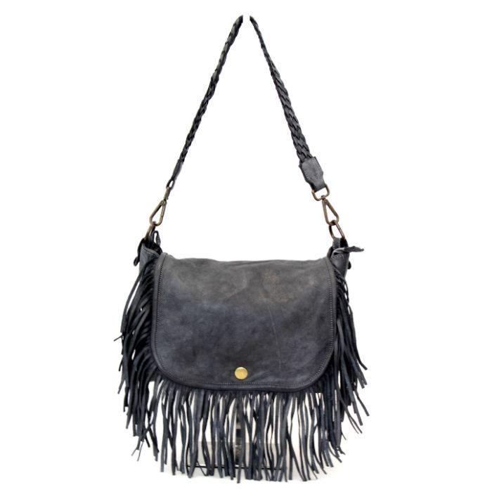 CAMILLA Shoulder Bag With Fringes Dark Grey