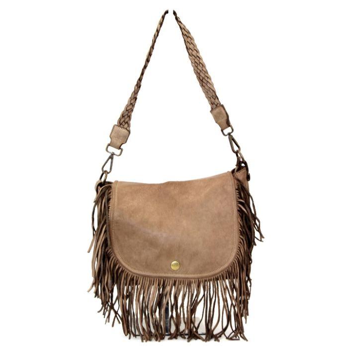 CAMILLA Shoulder Bag With Fringes Light Taupe