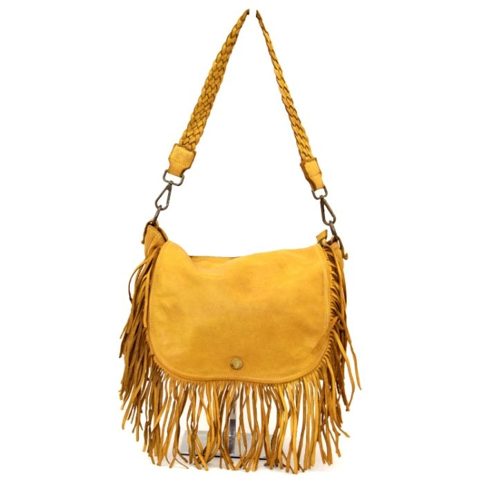 CAMILLA Shoulder Bag With Fringes Mustard