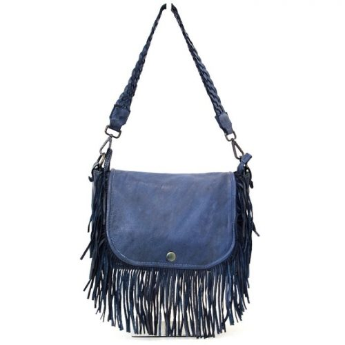 CAMILLA Shoulder Bag With Fringes Navy