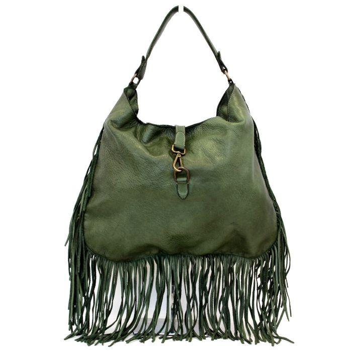 AMBRA Shoulder Bag With Fringes Army Green