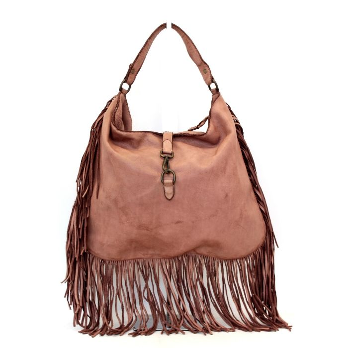AMBRA Shoulder Bag With Fringes Blush