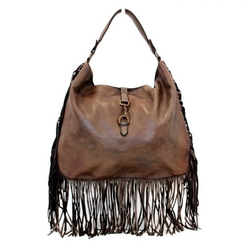 AMBRA Shoulder Bag With Fringes Dark Brown