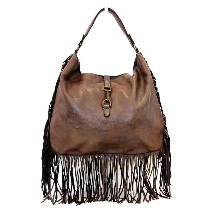 AMBRA Shoulder Bag With Fringes Dark Brown