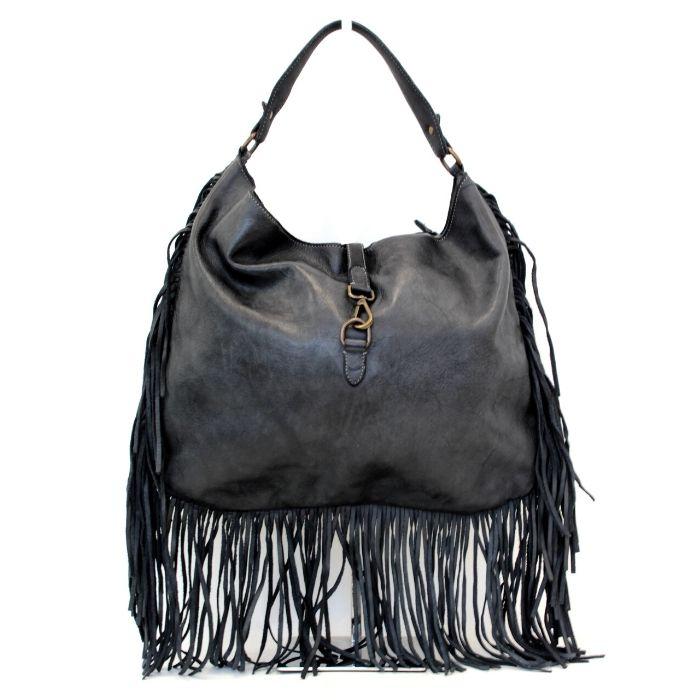 AMBRA Shoulder Bag With Fringes Dark Grey