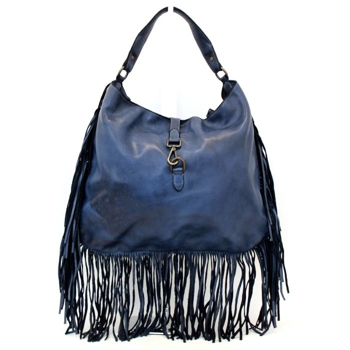AMBRA Shoulder Bag With Fringes Navy