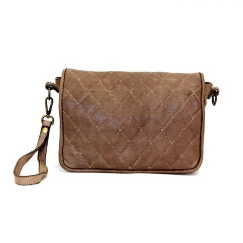 SILVINA Quilted Crossbody Bag Dark Brown