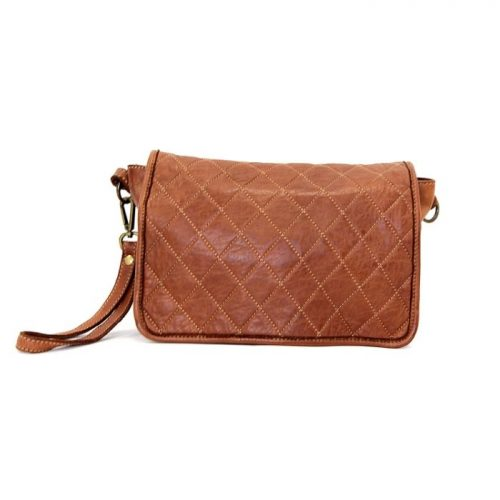 SILVINA Quilted Crossbody Bag Tan