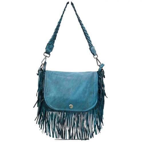 CAMILLA Shoulder Bag With Fringes Teal