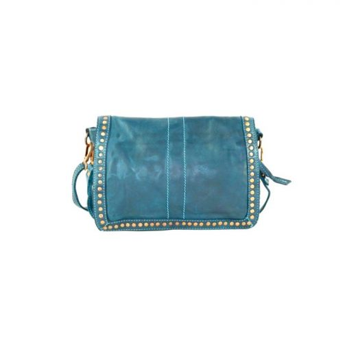 SILVINA Small Cross-body Bag With Studs Teal