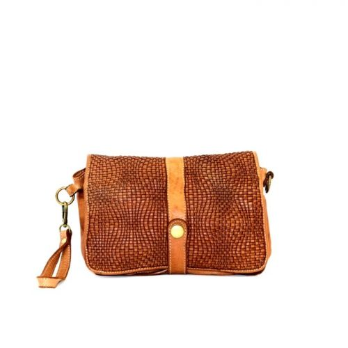 MARTINA Wave Weave Crossbody Bag Tan