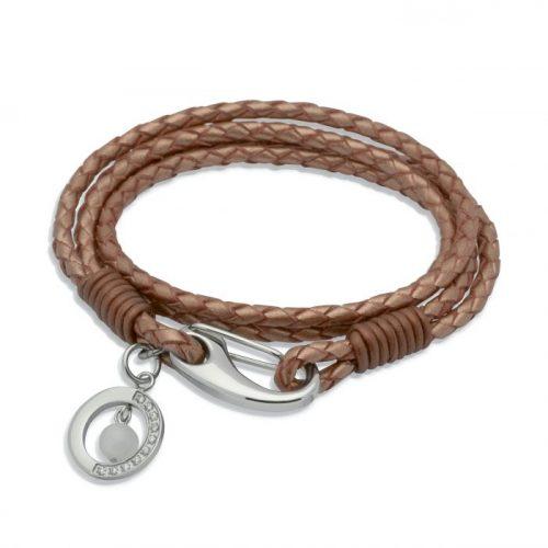 Unique & Co Women's Leather Bracelet With Jade Ball Charm Copper