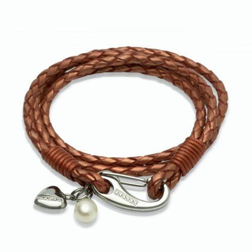 Unique & Co Women's Leather Bracelet With Heart & Pearl Charm Copper