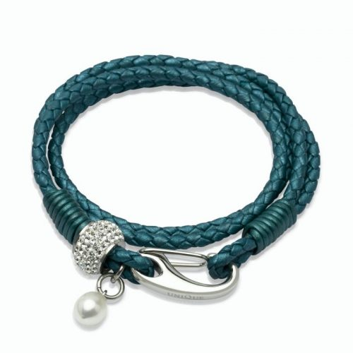 Unique & Co Women's Leather Bracelet With Crystal Element & Pearl Teal