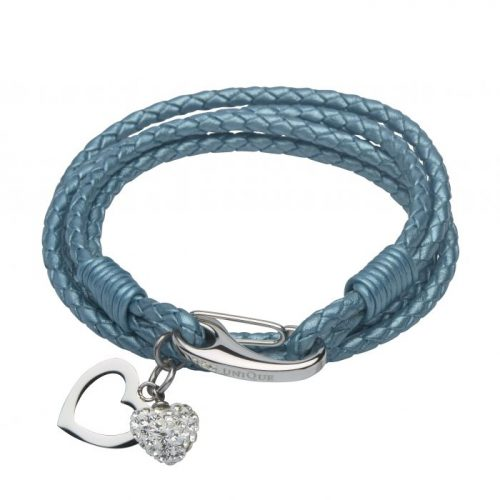 Unique & Co Women's Leather Bracelet With Heart Charms Teal