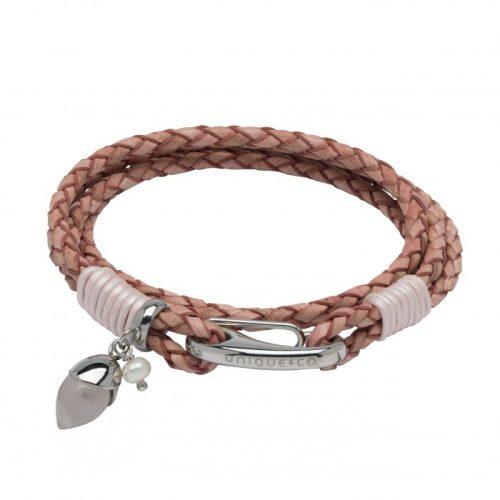 Unique & Co Women's Leather Bracelet With Rose Quartz Acorn In Antique Pink