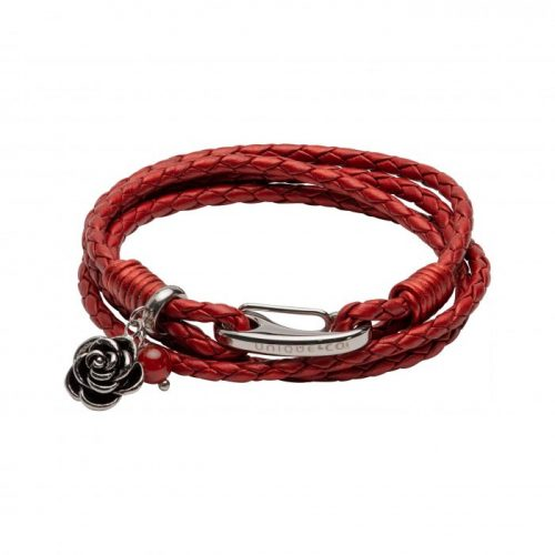 Unique & Co Women's Leather Bracelet With Rose & Ball Charm Red