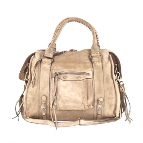 ISABELLA Hand Bag With Stitched Handle Beige
