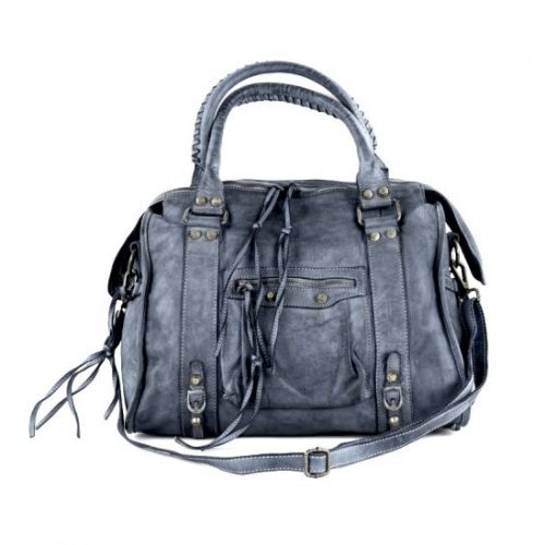 ISABELLA Hand Bag With Stitched Handle Dark Grey