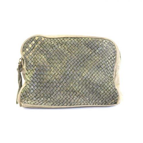 PAOLA Woven Crossbody Bag Army