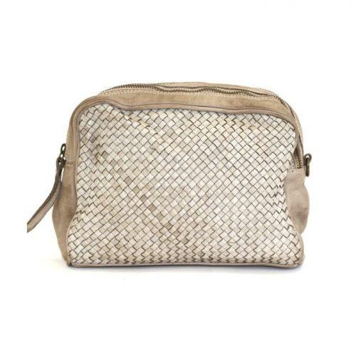 PAOLA Woven Crossbody Bag Beige
