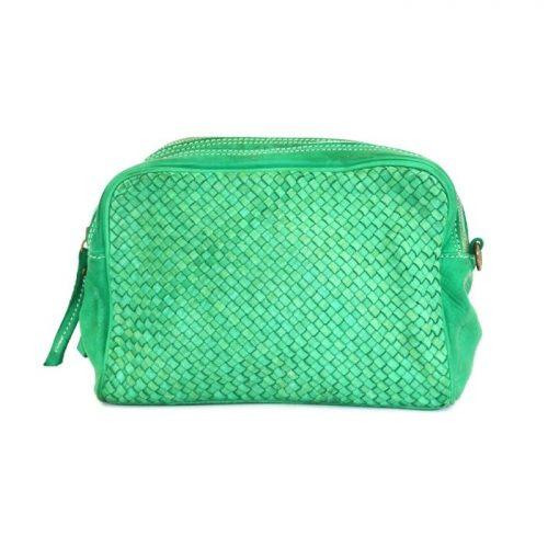 NICOLETTA Woven Crossbody Bag Green