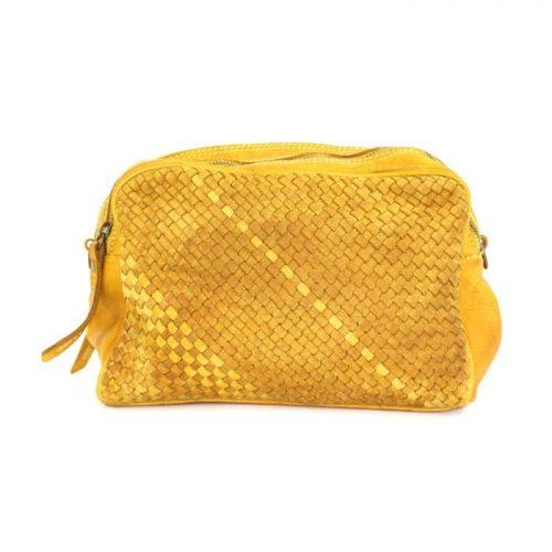 PAOLA Woven Crossbody Bag Mustard