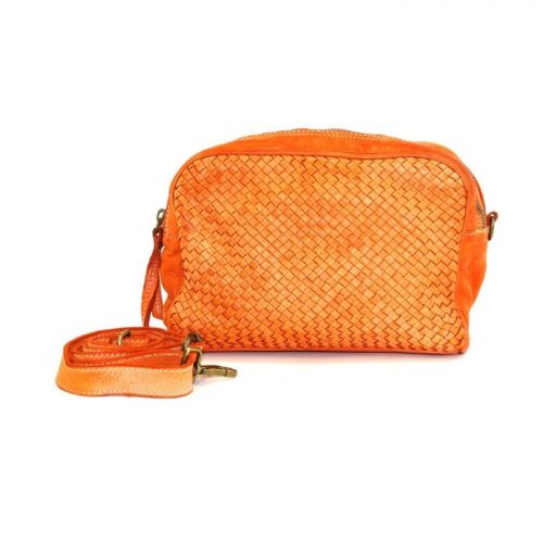 PAOLA Woven Crossbody Bag Orange