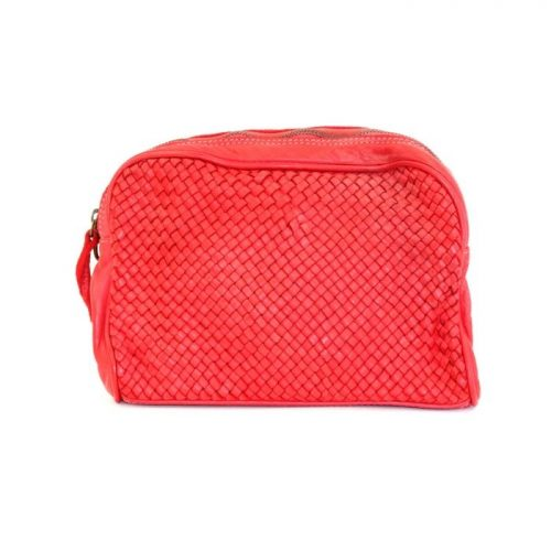 PAOLA Woven Crossbody Bag Red