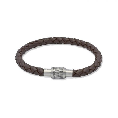 Unique & Co Men's Leather Bracelet Steel Screw Clasp Dark Brown