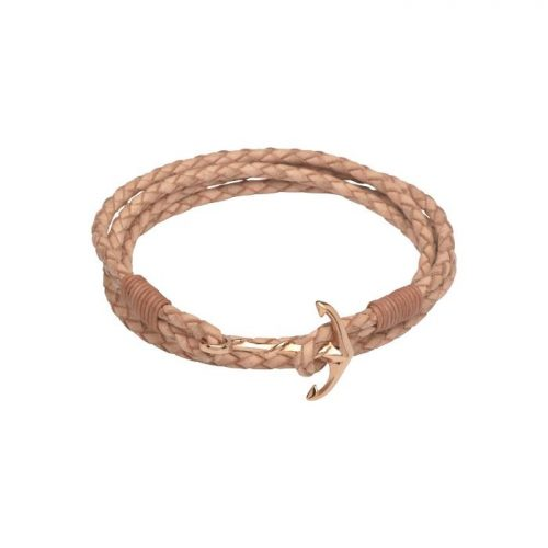 Unique & Co Women's Leather Bracelet With Rose Gold Anchor Clasp Natural